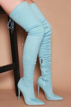 Hayley Skinny Heeled Thigh High Boots in Baby Blue Vegan Suede Blue Thigh High Boots, Blue High Heels, Blue Boots, High Heel Boots, Heeled Boots, Baby Blue Heels, Pretty Shoes, Cute Shoes, Botas Sexy