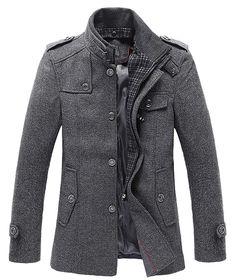 Men Winter Stylish Wool Blend Single Breasted Military Peacoat Coat Jacket Gray | Clothing, Shoes & Accessories, Men's Clothing, Coats & Jackets | eBay!