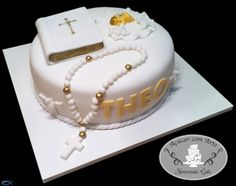 christening Christian Baptism, Communion Cakes, Beautiful Cakes, Christening, Birthday Cake, Desserts, Baby Cakes, Food, Bb