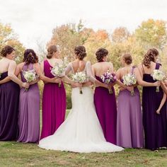 We LOVE all the shades of purple #chiffon bridesmaid dresses from this #realwedding! What color are your bridesmaids wearing? {Photo: Amber Green Photography}