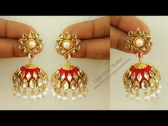 Jewelry Making Ideas How To Make Beautiful Silk Thread Pearl Earrings At Home Silk Thread Jhumkas, Silk Thread Bangles Design, Silk Thread Earrings, Thread Jewellery, Pearl Earrings, Diy Jewelry Necklace, Old Jewelry, I Love Jewelry, Flower Jewelry