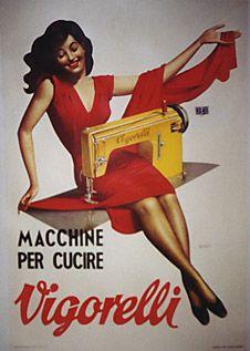 mmm, lady making a RED DRESS! By Gino Boccasile, 1953, Vigorelli.