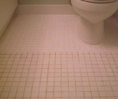 Mix 7 cups water, 1/2 cup baking soda, 1/3 cup lemon juice and 1/4 cup vinegar. Spray the concoction onto the dirty grout, let sit, and scrub with a brush. Sparkling grout await.