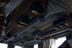 dark exposed ceiling