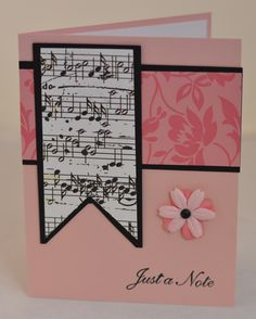 Another music themed birthday card - pink, black & white