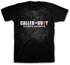 """The Called to Duty kidz t-shirt represents the ultimate sacrifice that Christ made when he died for our sins. This Children Christian tee in black is based on John 15:13 """"Greater love has no man than this, that he lay down his life for his friends""""."""