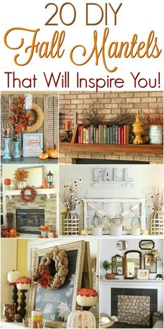 20 Fall Mantels That Will Inspire You - No matter what style you are going for this Fall, you'll love these mantels and find some great inspiration! Fall Home Decor, Autumn Home, Diy Home Decor, Thanksgiving Decorations, Seasonal Decor, Fall Decorations, Thanksgiving Diy, Christmas Decor, Fall Mantels