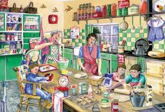 Gibsons Baking Day Jigsaw Puzzle - to deal restaurant Vintage Pictures, Vintage Images, Vintage Posters, Vintage Art, 2000 Piece Puzzle, Family Fun Day, Cartoon Art Styles, Country Art, Puzzle Art