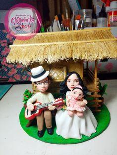 Wedding cake topper, Polymer clay, Bahay Kubo Fililpiniana themed bride and groom wedding Baby Baptism, Christening, Wedding Cake Toppers, Wedding Cakes, Birthday Souvenir, Bahay Kubo, Polymer Clay Cake, Filipiniana, Wedding Giveaways