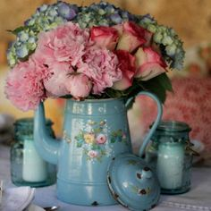 French hand painted aqua enamel ware with lovely flowers...wonderful!