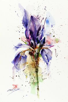 IRIS Floral Watercolor Print, Flower Painting, Watercolor Flower, by Dean Crouser by DeanCrouserArt on Etsy