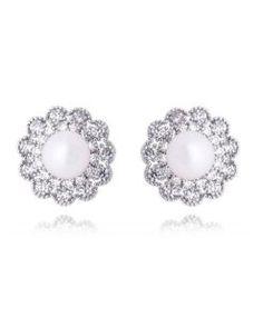 brinco pérola com zirconias cristais e banho de rodio semi joias da moda online