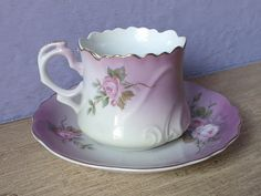Antique Lefton China heavenly rose tea cup and saucer, Hand Painted tea cup…