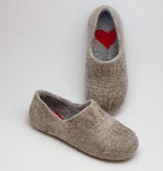 Felted Warmest Love Clogs - Felt organic merino wool neutral beige grey - handmade slippers all sizes made to order. $69.00, via Etsy.