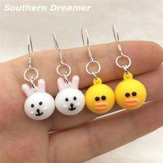 Southern Dreamer Cute Rabbit Funny Yellow Big Mouth Duck Drop Earrings For Girls Kids Childrens Kawaii Silicone Dangle Earings #Affiliate