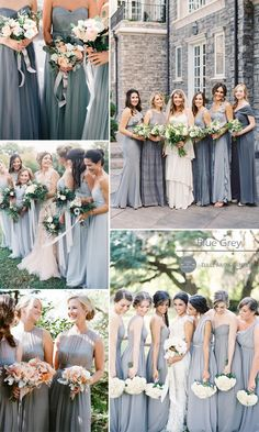blue grey chiffon bridesmaid dresses and wedding color ideas 2015