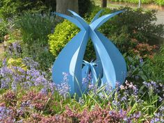 Steel Abstract Contemporary or Modern Outdoor Outside Exterior Garden / Yard Sculptures Statues statuary sculpture by artist Pete Moorhouse titled: 'Protection (Coloured Steel Symmetric Yard/garden sculptures/statues)'
