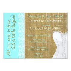 Rustic White Lace Corset Lingerie Bridal Shower 5x7 Paper Invitation Card