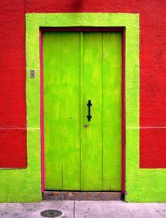 Lime green and brick red wooden doorway. Old Doors, Windows And Doors, Door Knockers, Door Knobs, Painted Doors, Garden Gates, Closed Doors, Doorway, Architecture