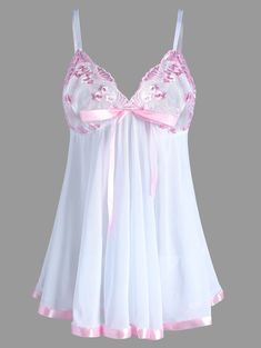 0c3f13d4752 Embroidered Plus Size Mesh Lingerie Bodydoll Slip Dress - White - 5xl  Gorgeous Lingerie