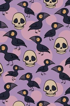 retro-inspired ravens and skulls with purple full moons in the background - the perfect Halloween pattern, great for kids' clothes, home dec accessories, or trick-or-treat bags! Kawaii Halloween, Purple Halloween, Retro Halloween, Halloween Patterns, Halloween Prints, Halloween Pictures, Halloween Design, Witchy Wallpaper, Cute Fall Wallpaper