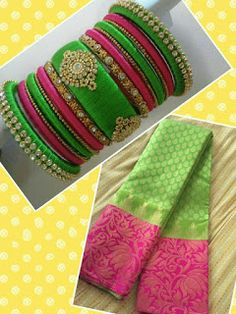 Pink with Light Green Color Pair) Elegant Heavy Work Indian silk thread bangles Its purely handmade products. Whole sellers are also welcome. Its available in all sizes and Silk Thread Bangles Design, Silk Thread Necklace, Silk Bangles, Beaded Necklace Patterns, Bridal Bangles, Thread Jewellery, Kundan Bangles, Jewelry Patterns, Bridal Earrings
