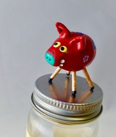 Mini Smiling Red Pig with Flowers and Gold Glitter Legs