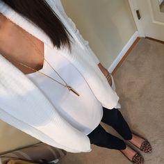 Express white barcelona cami + white cardigan + black skinnies + leopard flats + stella & Dot rebel pendant [IG- @erinerinhartman]