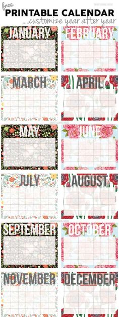 Free Calendar! Print and customize it year after year.