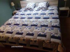 """Patchwork deka s polštářky """"Modré pruhy"""" Comforters, Blanket, Home, Scrappy Quilts, Creature Comforts, Quilts, Ad Home, Blankets, Homes"""