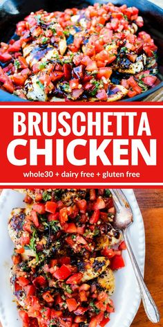 whole 30 recipes Healthy Bruschetta Chicken contains many of the flavors you love from traditional bruschetta but now you can enjoy it for dinner! This one is a family favorite for good reason! Plus its dairy free, and gluten free! New Recipes, Whole Food Recipes, Cooking Recipes, Favorite Recipes, Recipes Dinner, Best Healthy Recipes, Whole 30 Chicken Recipes, Clean Eating Recipes For Dinner, Fast Recipes