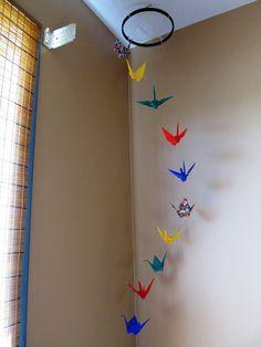 Multicolor Origami crane mobile/ Mobile by KawaiiSayuri on Etsy, via Etsy.