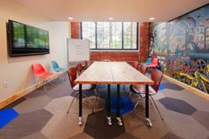 Coworking Studio - A shared place to work and create in Lafayette, Indiana Lafayette Indiana, Coworking Space, Drafting Desk, Conference Room, Studio, Places, Table, Furniture, Granite