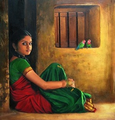 Portraying Dravidian Women by Realistic Artist Elayaraja from Chennai, India ~ chori-choriyaan चोरी-चोरियाँ