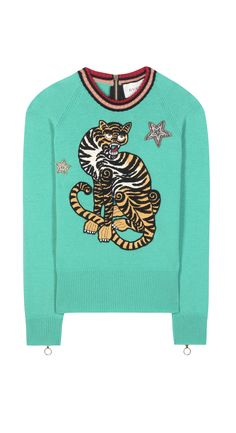 Contrasting ribbed neckline Exposed zip fastening at back Round neck Long raglan sleeves Zipped cuffs Cropped Embroidered tiger appliqué at front Embellished Jumper, Applique, Gucci, Knitting, Sleeves, Sweaters, Women, Fashion, Moda