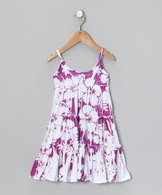 Take a look at this Purple Hawaiian Tiered Dress - Toddler & Girls by Happy Kids for Kids on #zulily today!