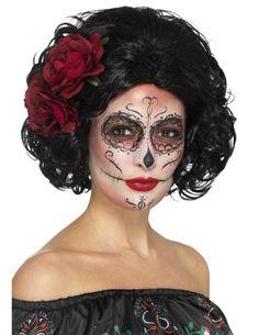 Perruque courte noire avec roses rouges Dia de los muertos