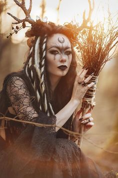 "gothicandamazing: "" Model, style, MUA: Model Kassie Lanfire Poto: Lina Aster, photography and retouching Headpiece: MyWitchery/Moon:Reikon Welcome to Gothic and Amazing Moon Witch, Pagan Witch, Witches, Pagan Art, Beltane, Maquillage Halloween, Halloween Makeup, Viking Makeup, Witch Makeup"