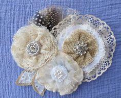 Rustic Burlap Lace Wedding Sash Vintage Floral Pin Belt by Paxty, $76.00