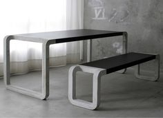 concrete wood bench and table