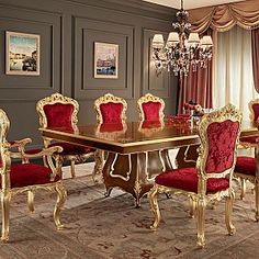 Solid-wood-one-piece-dining-table-classic-style-Villa-Venezia-collection-Modenese-Gastone.jpg - Sala da pranzo in noce con tavolo intagliato e decorazioni in foglia oro