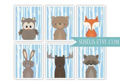 Set of 6 Woodland Animals Prints Nursery Printable Art by Suselis