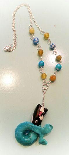 aryacreates: mer-cat/mermaid cat necklace using polymer clay
