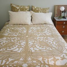 King Bed Cover in Applique Butterfly $158