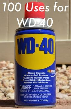 100 Uses for WD-40 Use to loosen rusty nuts and screws, clean garden tools Cleans piano keys Keeps wicker chairs from squeaking Lubricates small rolling toys Keeps garden tools rust-free Cleans patio door glide strip Removes crayon from clothes dryer (make sure to unplug dryer first) Removes scuff marks from ceramic tile floor Keeps …