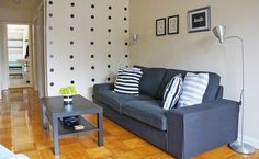 Check out this jock chic makeover on a mid-century apartment! Two siblings decorate a space that incorporates sports and The Ninja Turtles. Awesome Apartments, Sofa, Couch, Ninja Turtles, Home Decor Inspiration, Siblings, Living Spaces, Brother, Mid Century