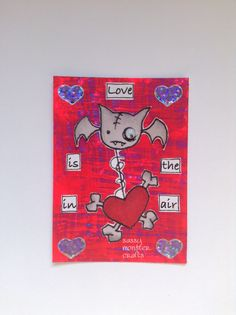 Sassy Monster Crafts: Oddball Love Bat ATC using a digital stamp from Oddball Art Co.