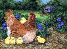 New Diamond Embroidery Kits Cross-stitch Hen And Chicken Home Decor Diy Diamond Painting Mosaic Drill paint needlework Chicken Painting, Chicken Art, Chicken Quotes, Farm Animals, Animals And Pets, Arte Do Galo, Image Deco, Chicken Pictures, Chickens And Roosters