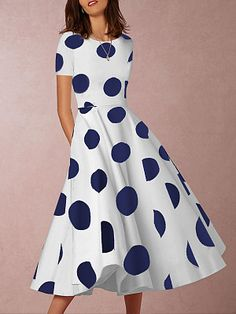 Dot print dress - Round Neck Polka Dot Skater Dress florafafa com – Dot print dress Casual Dresses, Fashion Dresses, Summer Dresses, Dresses Dresses, Stylish Dresses, Fashion Clothes, Stylish Outfits, Cheap Dresses Online, Coatdress