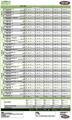 The Ultimate Body Beast Worksheets Lean Schedule Muscle Groups